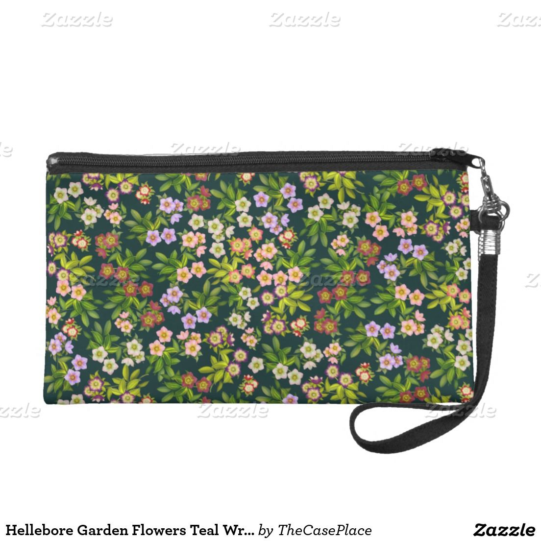 Hellebore Garden Flowers Teal Wristlet