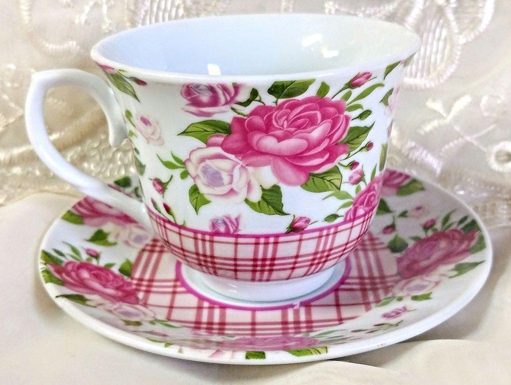 Gingham Rose Tea Cups Wholesale Case of 24 Porcelain Teacups