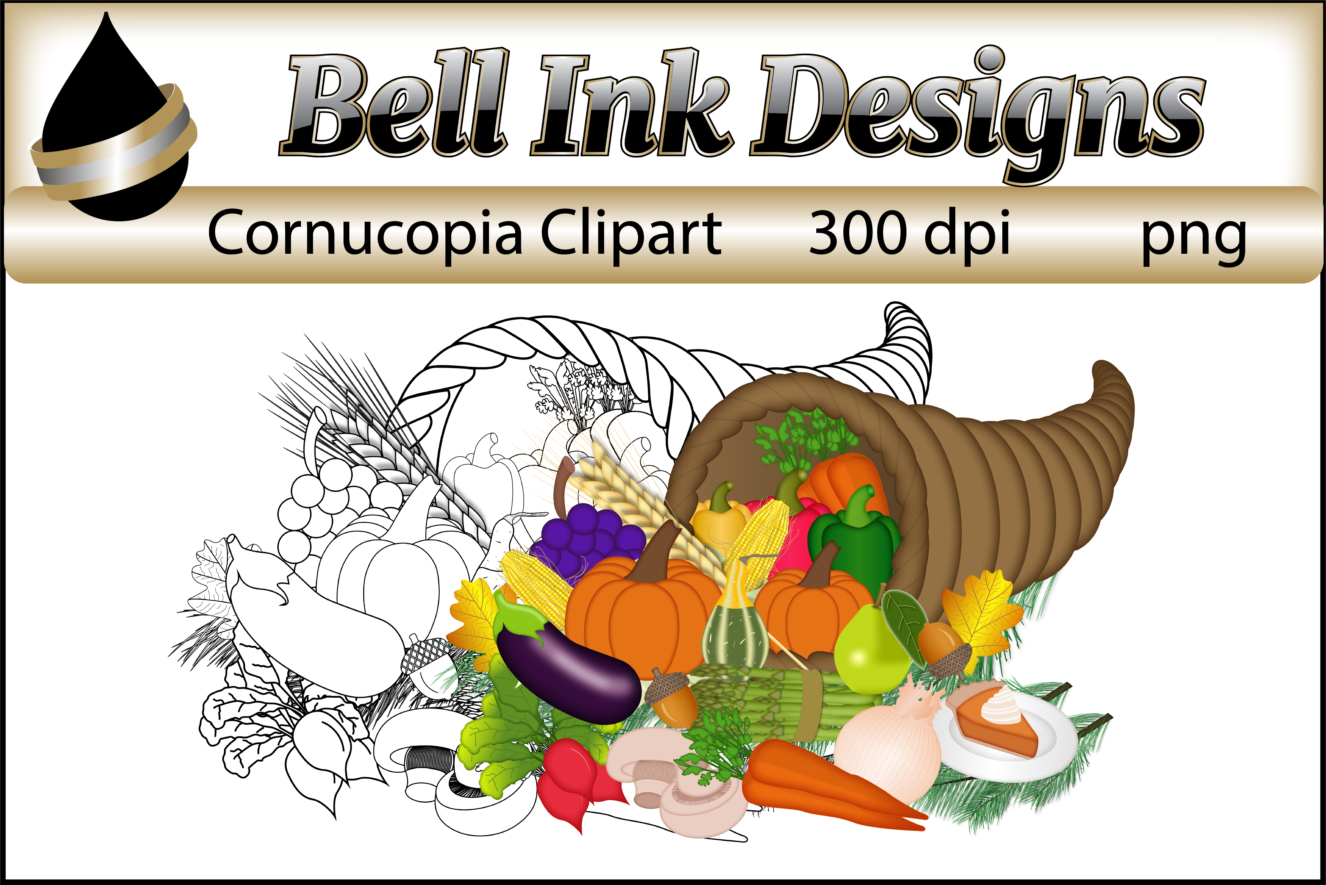 Cornucopia Clipart From Bell Ink Designs
