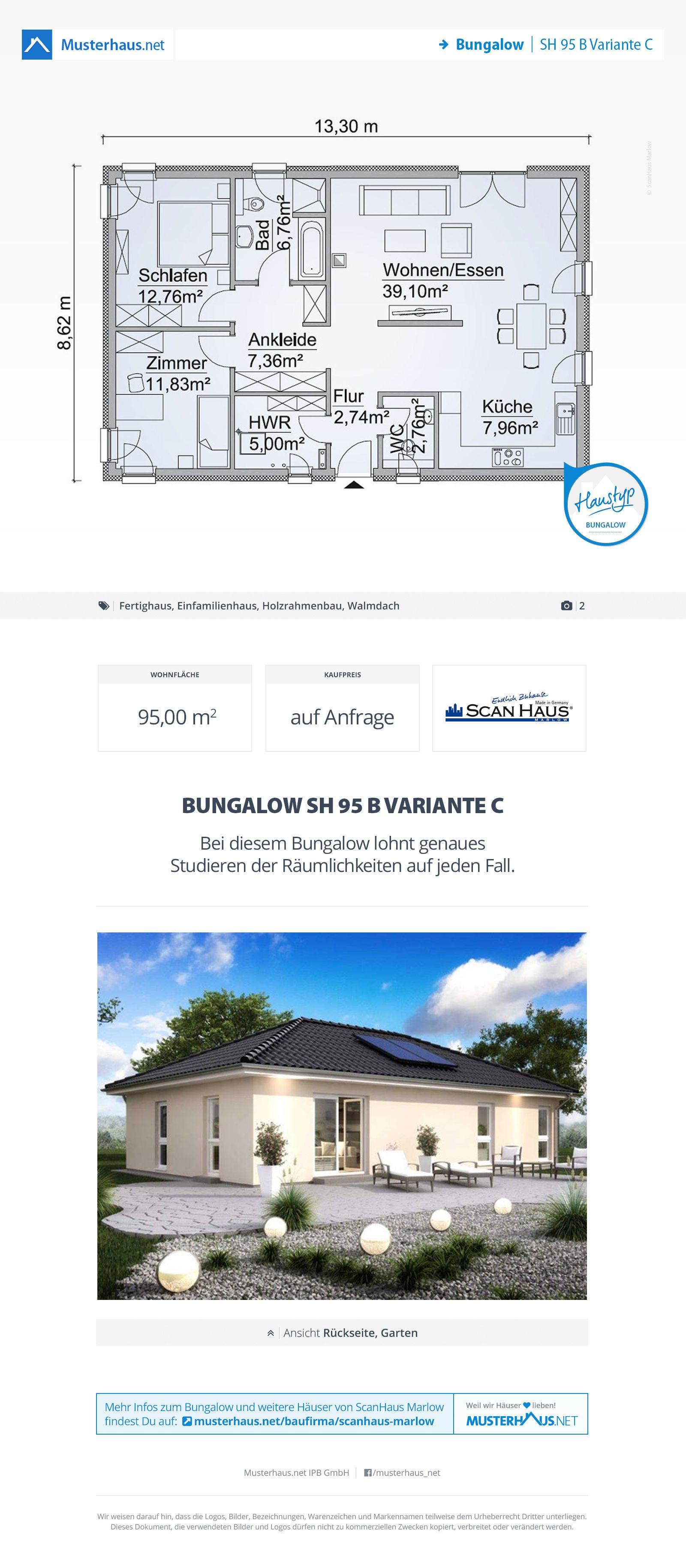 Musterhaus bungalow grundriss  Bungalow, Grundriss, 95 m², Einfamilienhaus, Walmdach | Bungalow ...