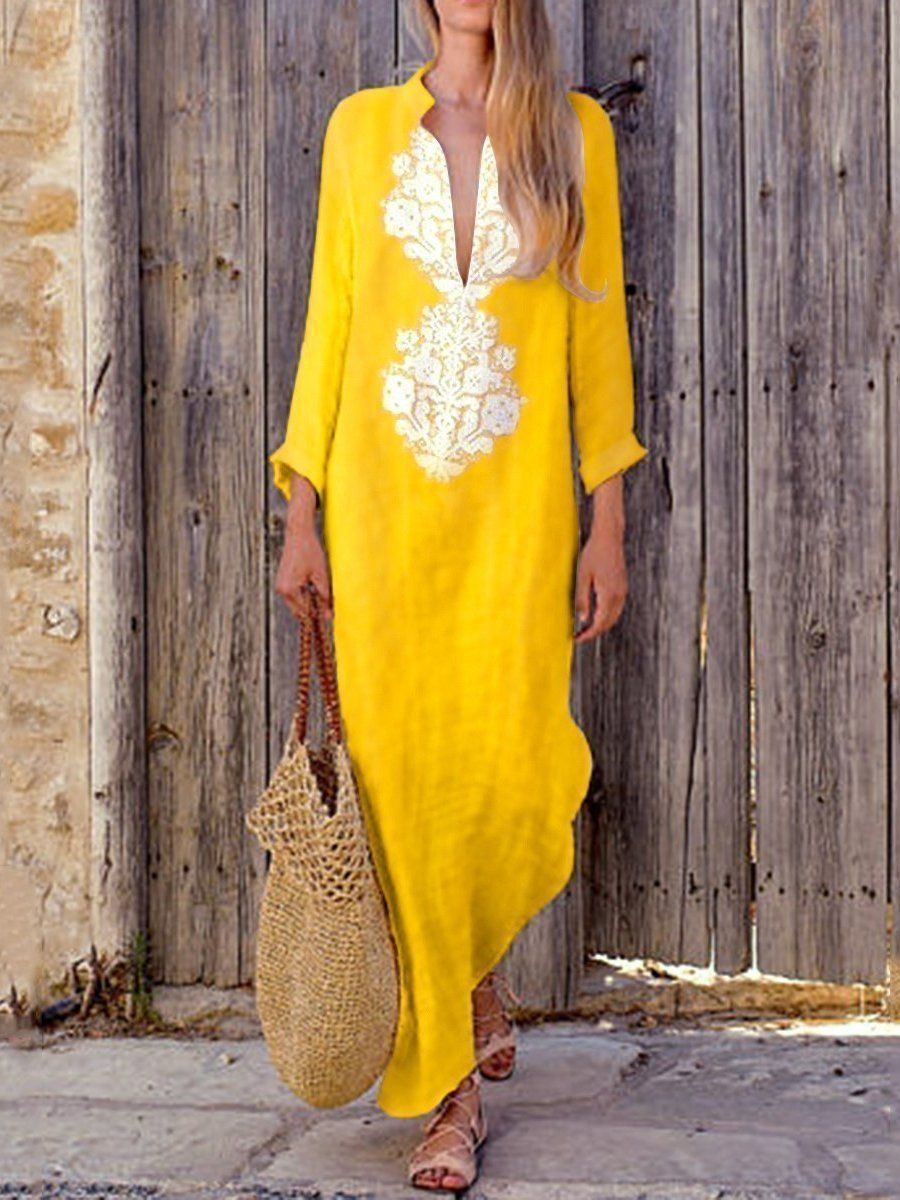 Solid color long sleeve loose casual maxi dress in boho