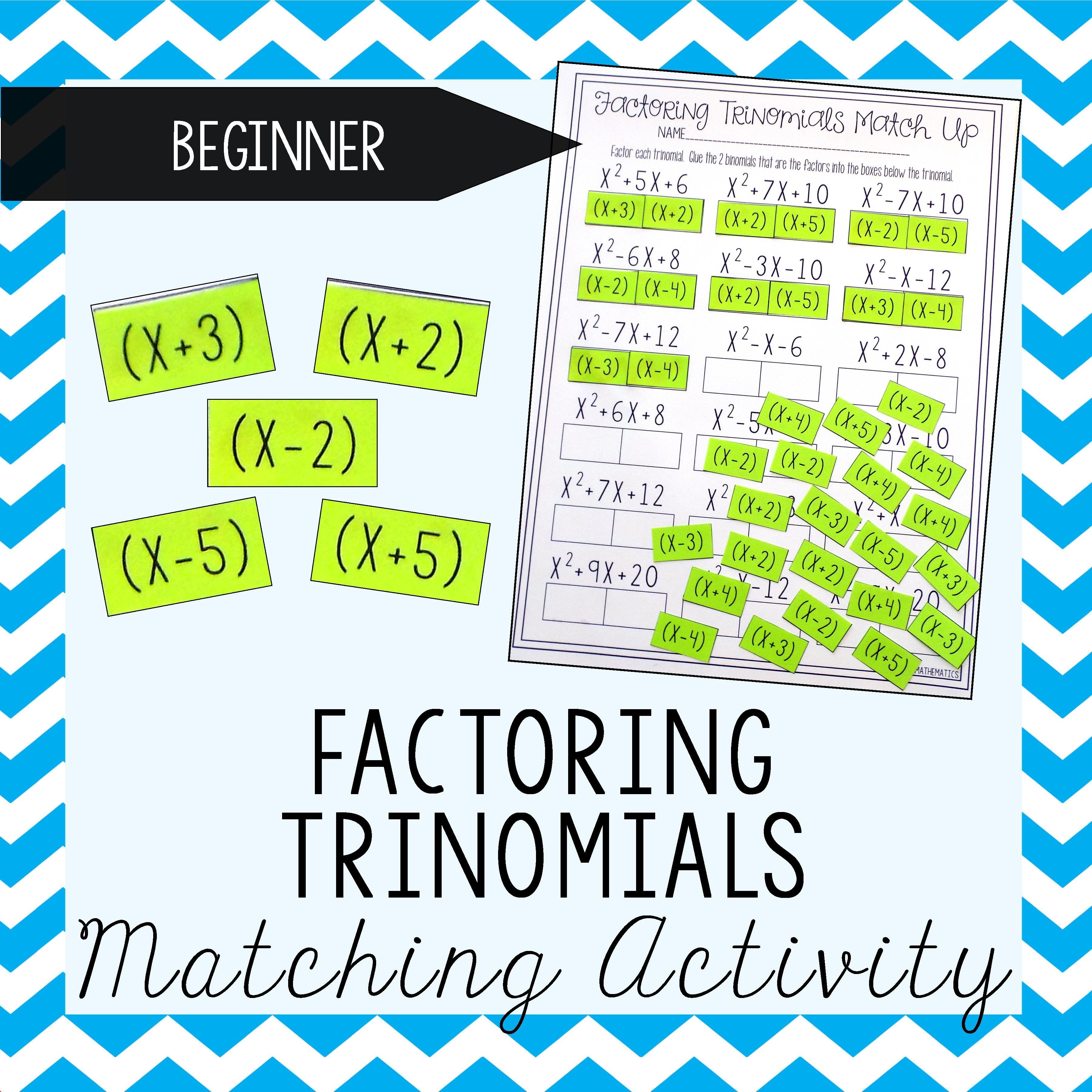 Factoring Polynomials Trinomials Activity