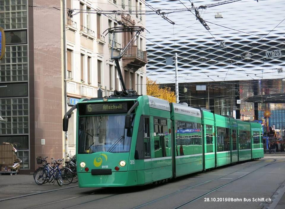 BVB Basler Verkehrsbetriebe Be 6/8 (Combino) auf der / sur la / sulla / on the Linie6 Riehen Grenze - Allschwil Spurweite 1000mm Écartement des rails 1 000 mm Track gauge 1000 mm (3 ft 3 3⁄8 in)   Bahn Bus Schiff.ch