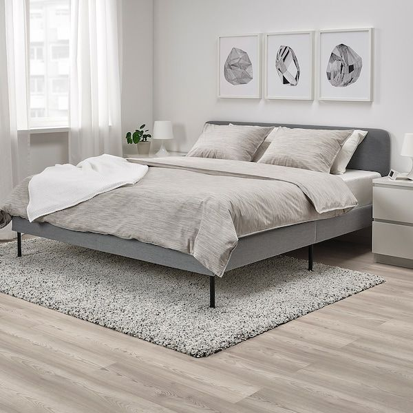 Slattum Knisa Light Grey Upholstered Bed Frame Standard Double Ikea In 2020 Bettgestell Inneneinrichtung Schlafzimmer Bett Dekor