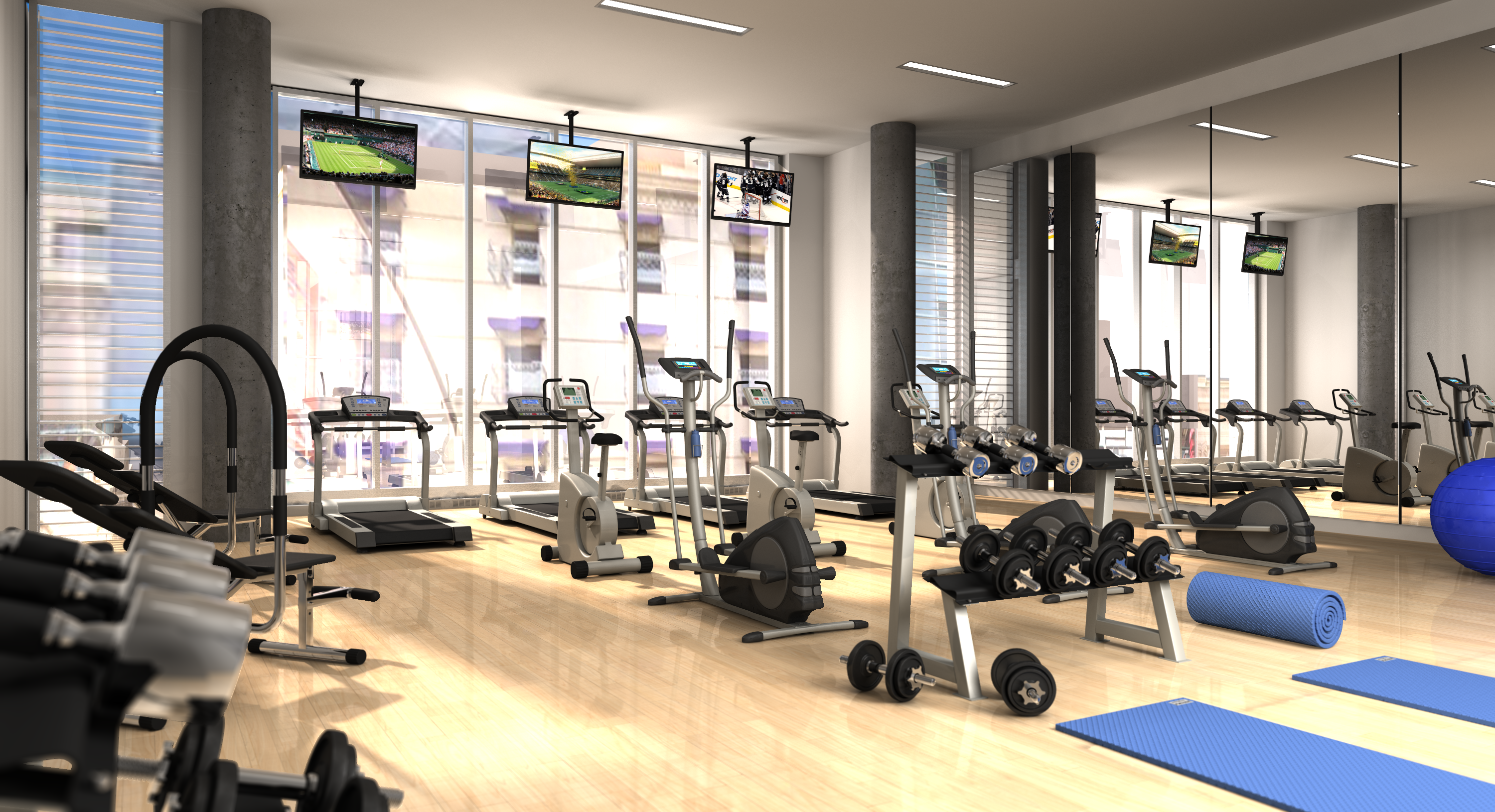 3d Modeling Rendering And Animation Condo Gym 3d Model Scene Rendered 3d Modeling Model Animation