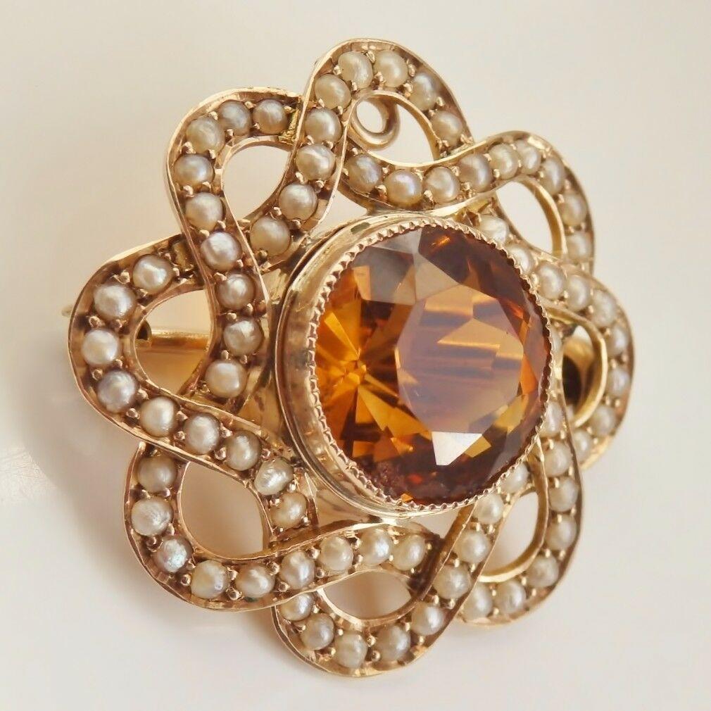 Victorian 9ct Gold Scottish Cairngorm Citrine & Pearl