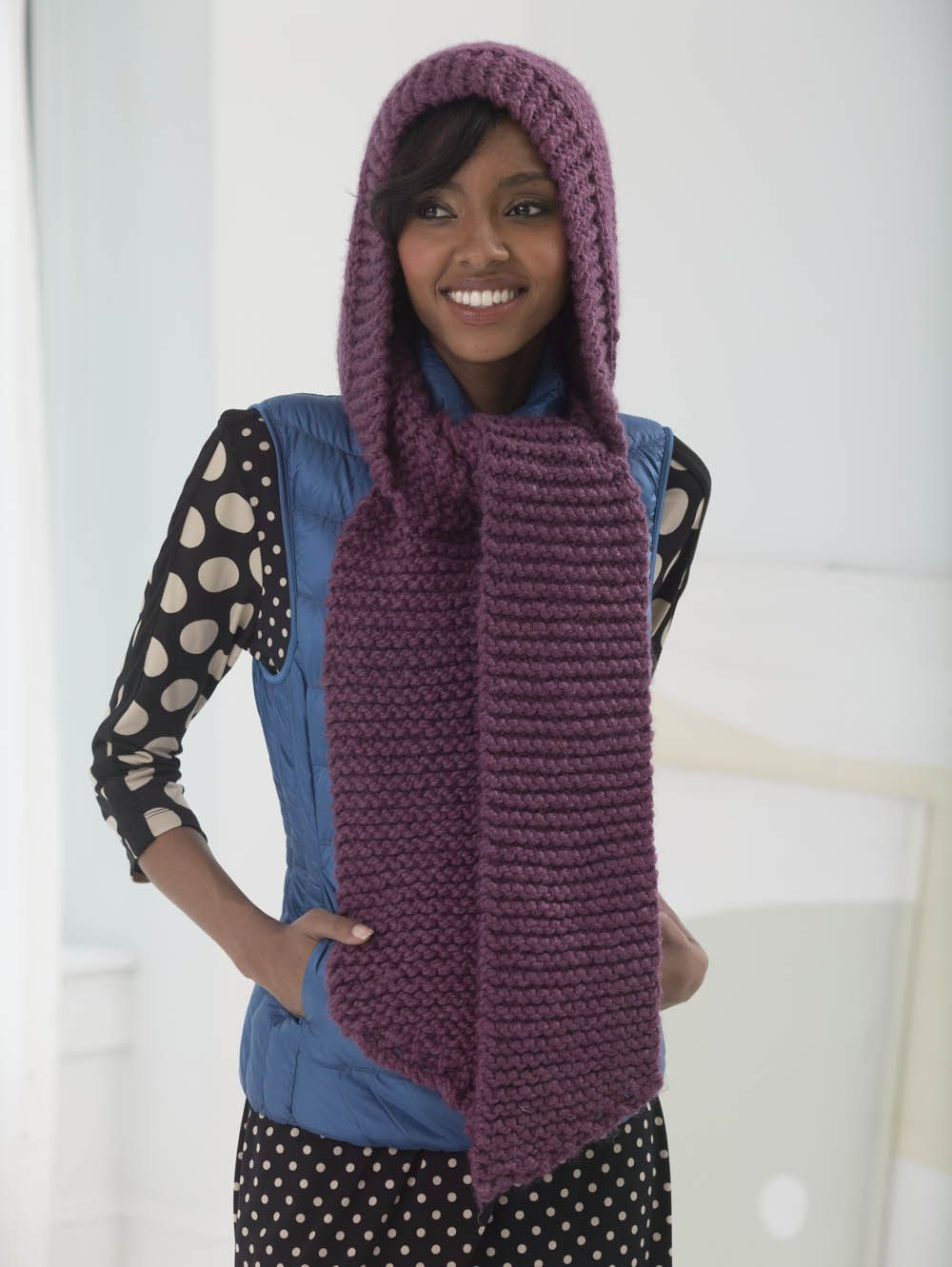 hooded scarf | Hooded scarf pattern, Loom scarf, Loom knitting