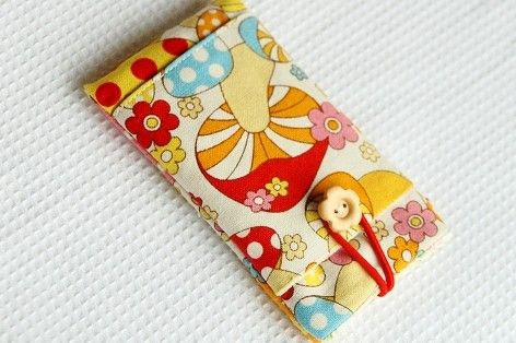 Items similar to iPhone 4 Case with Pocket, Cute Mushrooms,  Customized to Fit Any Cell Phone on Etsy