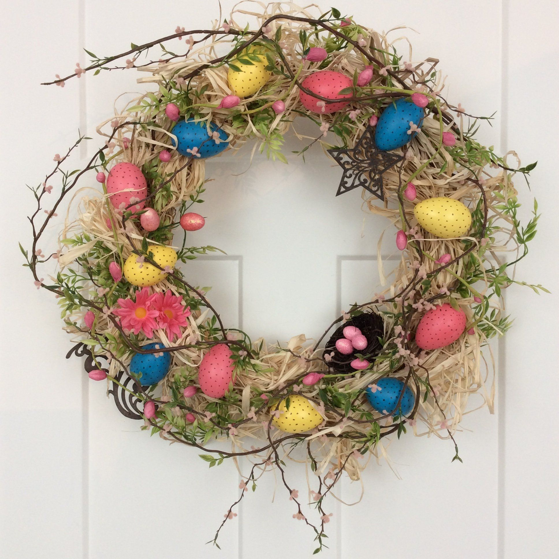 Lighted Country Circle Wreath Wall Door Art Spring Home Decor