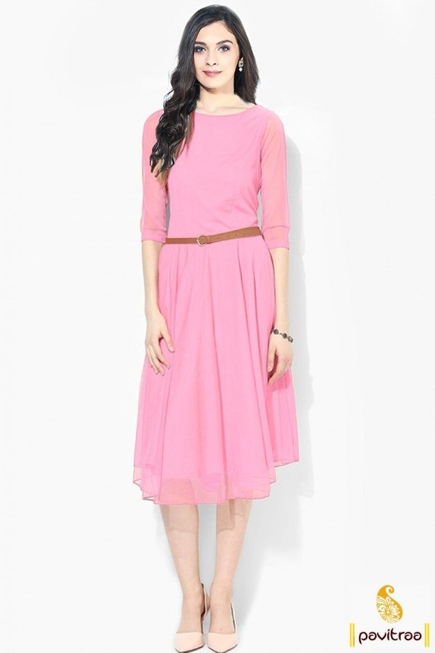 e4bdf473b5f3 Light Pink Color Knee Length Casual Dress with Sleeves Western One Piece  Dress  Onepiecedressonline