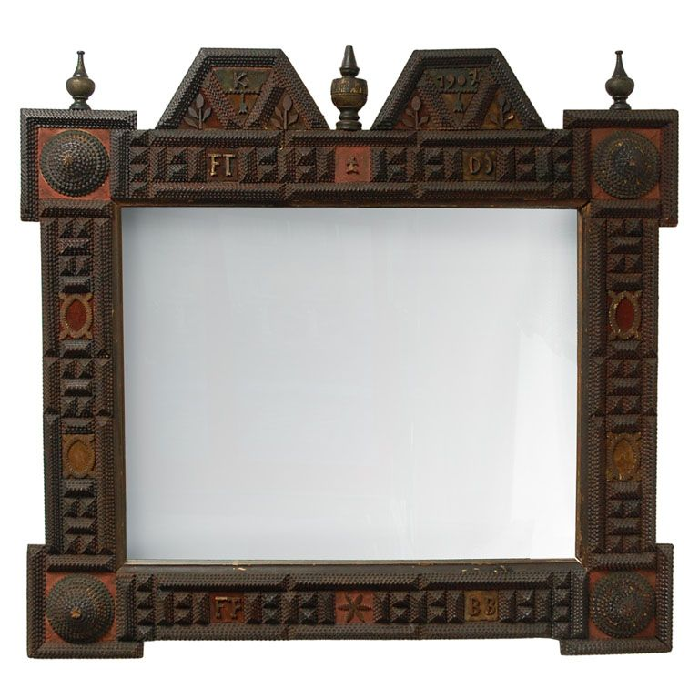 """Unusual Tramp Art Mirror. Carved, Turned & Painted Wood and Mirrored Glass. Dated 1907. 37"""" x 40"""" (94cm x 102cm)."""