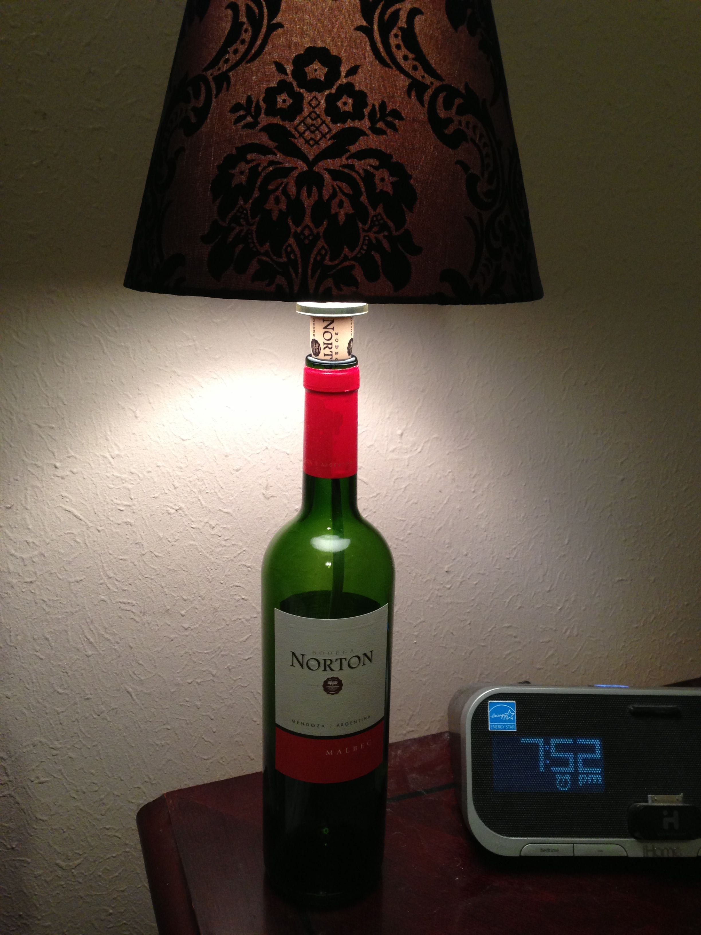 Wine bottle table lamp.