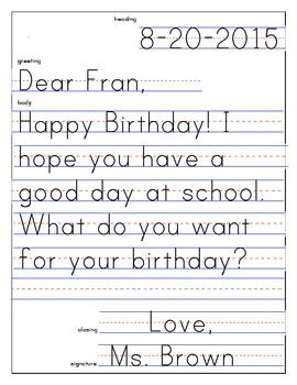 Friendly letter template and example friendly letter for Letter writing template for first grade