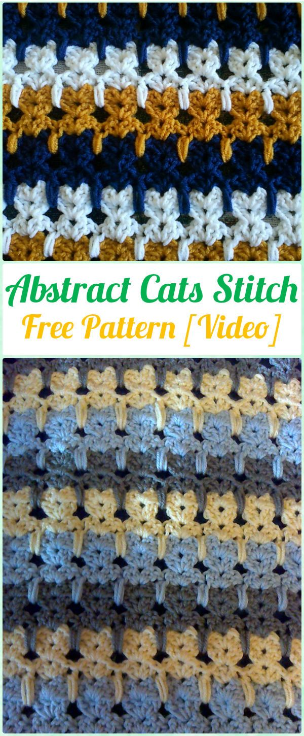Crochet Abstract Cats Stitch Free Pattern [With Video]   crochet ...