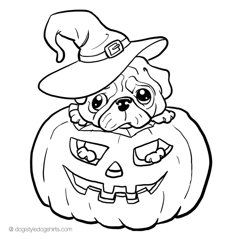 pug in jackolantern coloring page