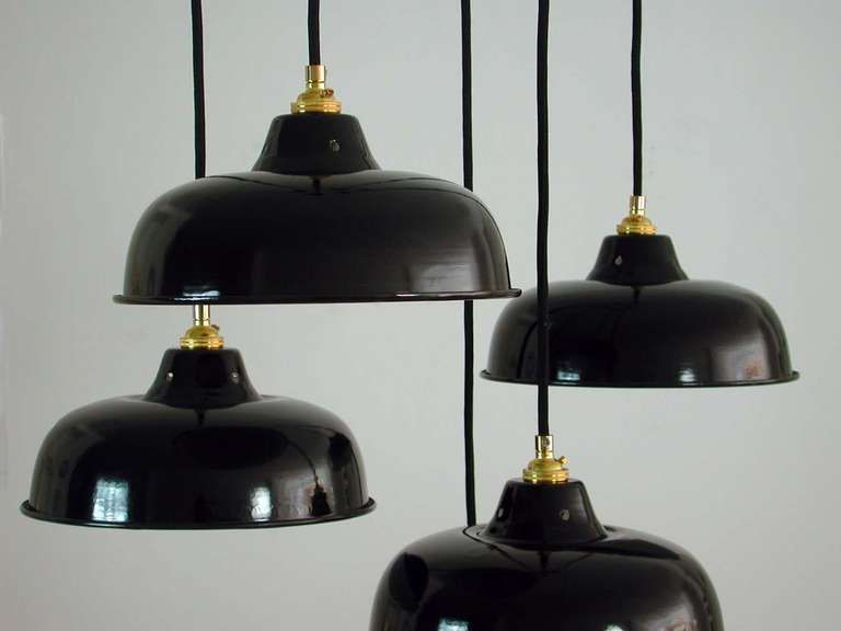 NOS 1950s French Industrial Enamel Factory Ceiling Lamps Pendants #frenchindustrial