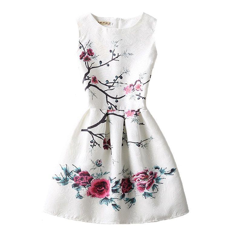 b3e4dc5e6a Vestidos de niñas 2018 verano sin mangas vestido para niñas arte mariposa  flor adolescentes niños princesa vestidos de fiesta de cumpleaños ropa