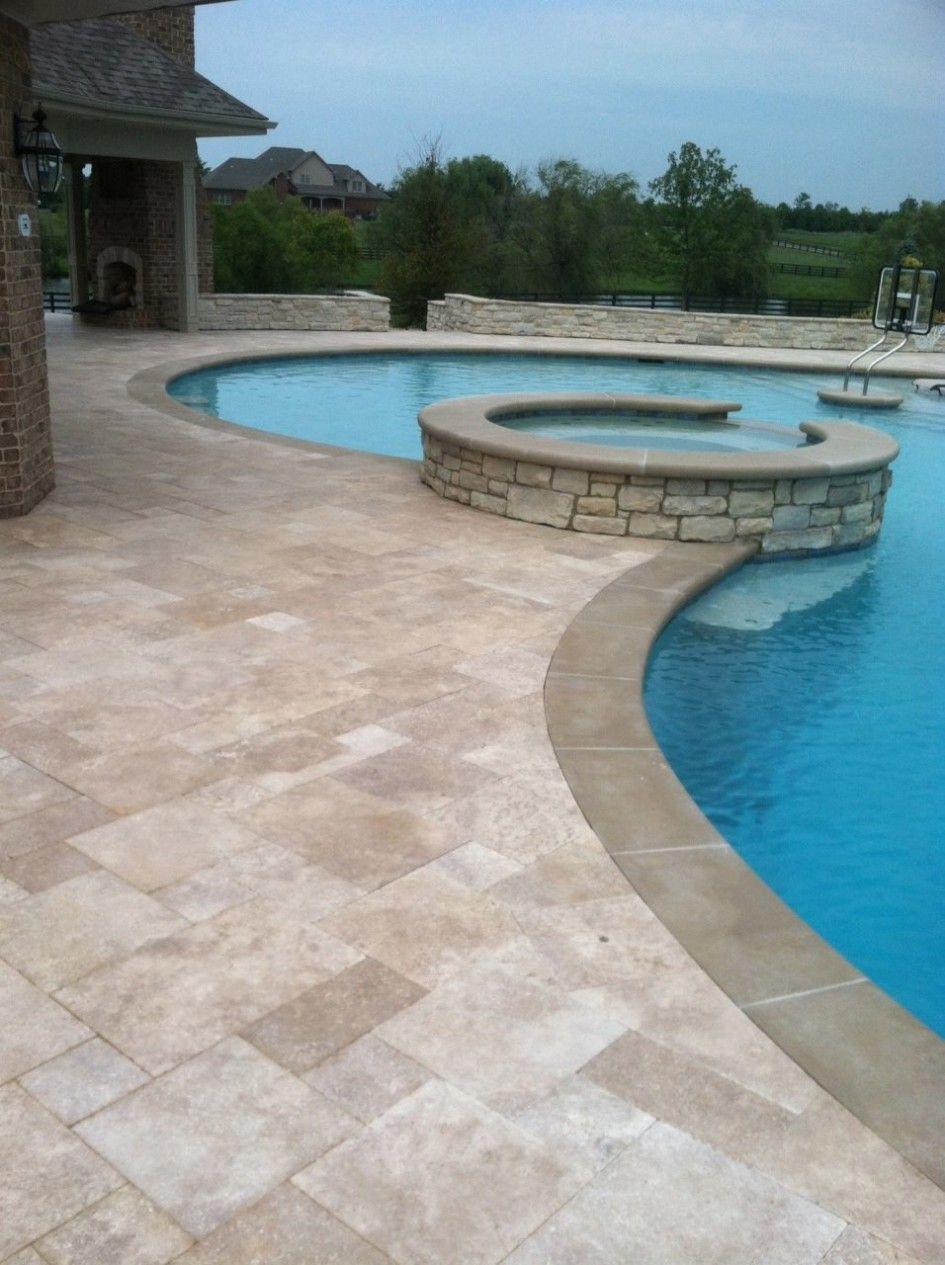 Resplendent Non Slip Pool Deck Tile With Travertine Around Also Stacked Stone Hot Tub