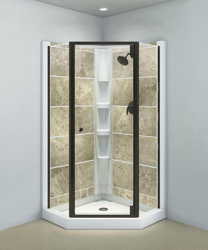 Sterling Solitaire Deep Bronze Neo Angle Corner Shower Door With
