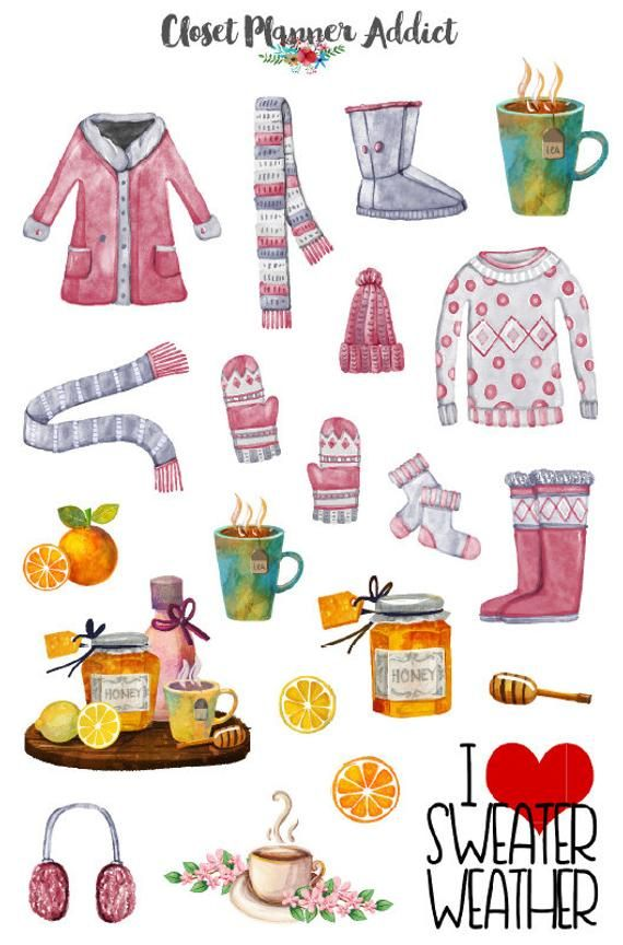 Photo of Winter Planner Stickers | I Love Sweater Weather Stickers | Winter Wear Stickers | Honey Lemon Tea Stickers (S-267)