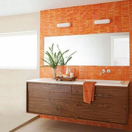 Un Si Rotundo A Los Banos De Color Naranja Orange Bathrooms Yes