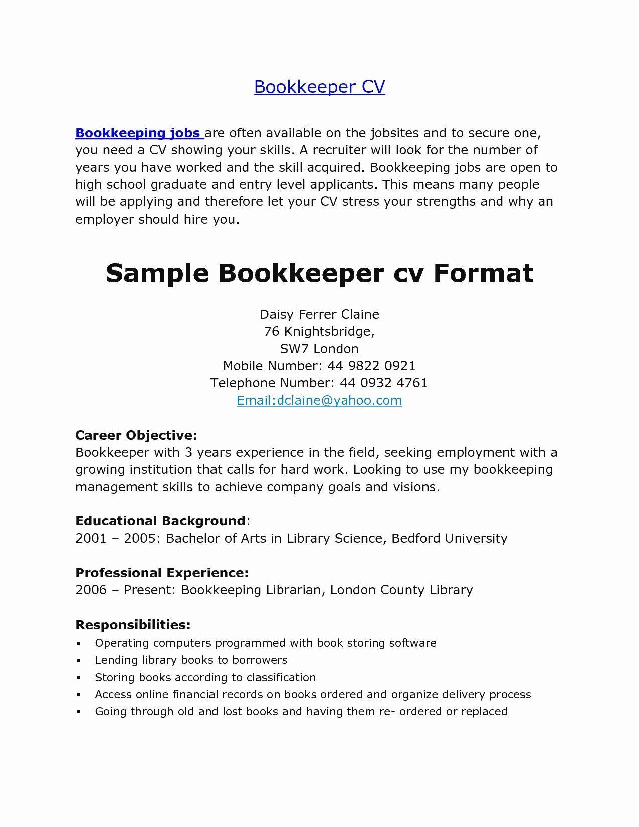 entry level bookkeeper resume sample
