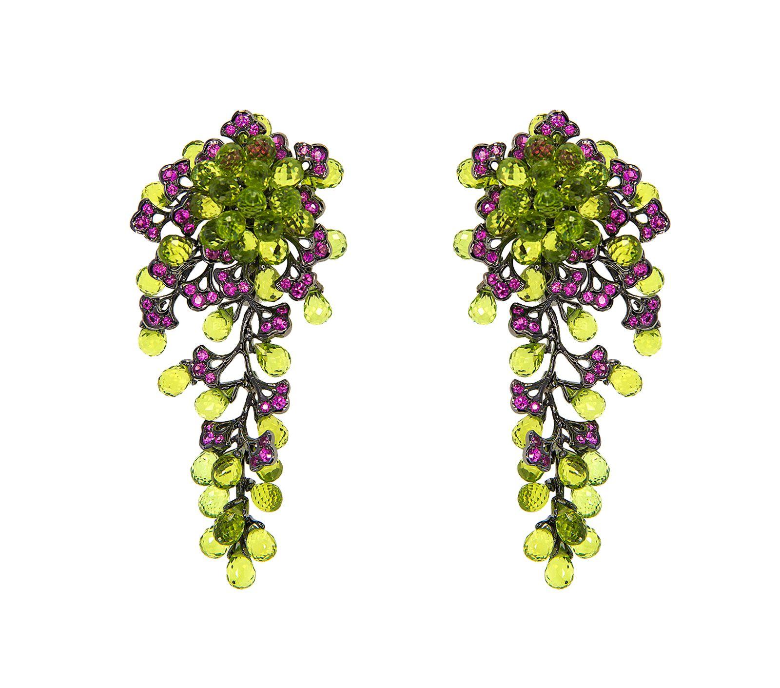 Adelya earrings in peridotbriolette, pink sapphire and black gold, $10,320