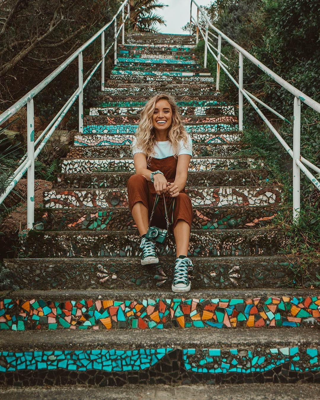 "Hailey Miller on Instagram: ""found these really cool steps covered in old mosaic tiles + seashells when we were on a long walk along the coast in sydney ☺️????????"" #granolagirlaesthetic"