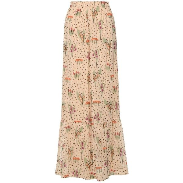 REDValentino Blooming Garden Print Wide Leg Silk Trousers ($845) ❤ liked on Polyvore featuring pants, beige pants, silk trousers, ruched pants, wide-leg trousers and elastic waist wide leg pants
