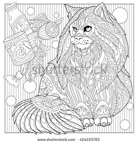 zentangle stylized cartoon maine coon with cat food hand drawn sketch for adult antistress coloring
