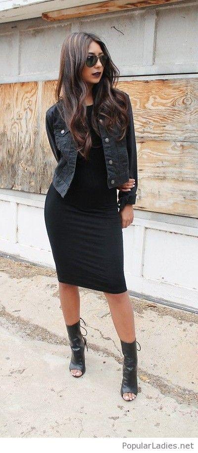 The elizabethan black bodycon dress with denim jacket years galleria hashtags