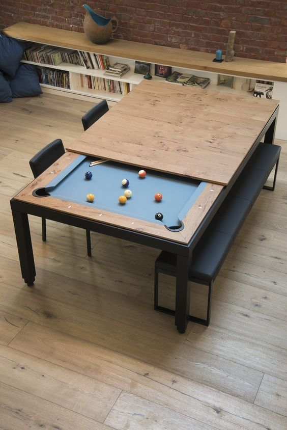 Small Space Living Design Tricks To Enhance Small Homes My - Pool table in small space