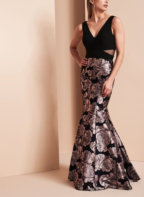 bd85b0848e6ac BA Nites Rose Print Gown Printed Gowns, Prom Dresses, Formal Dresses,  Illusion Neckline
