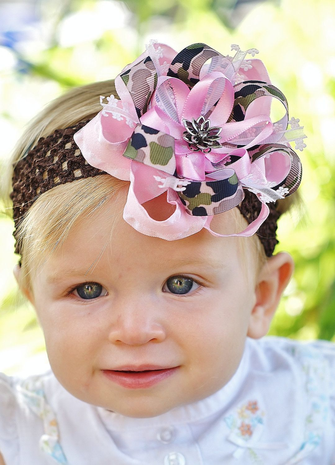 Coral Pink Spring Shabby Flower Newborn Headband HairBow Baby Girl Hair Bow