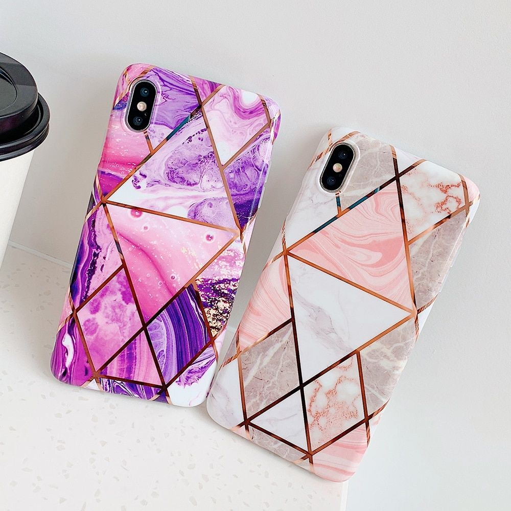 Geometric marble texture phone cases for iphone xr xs max