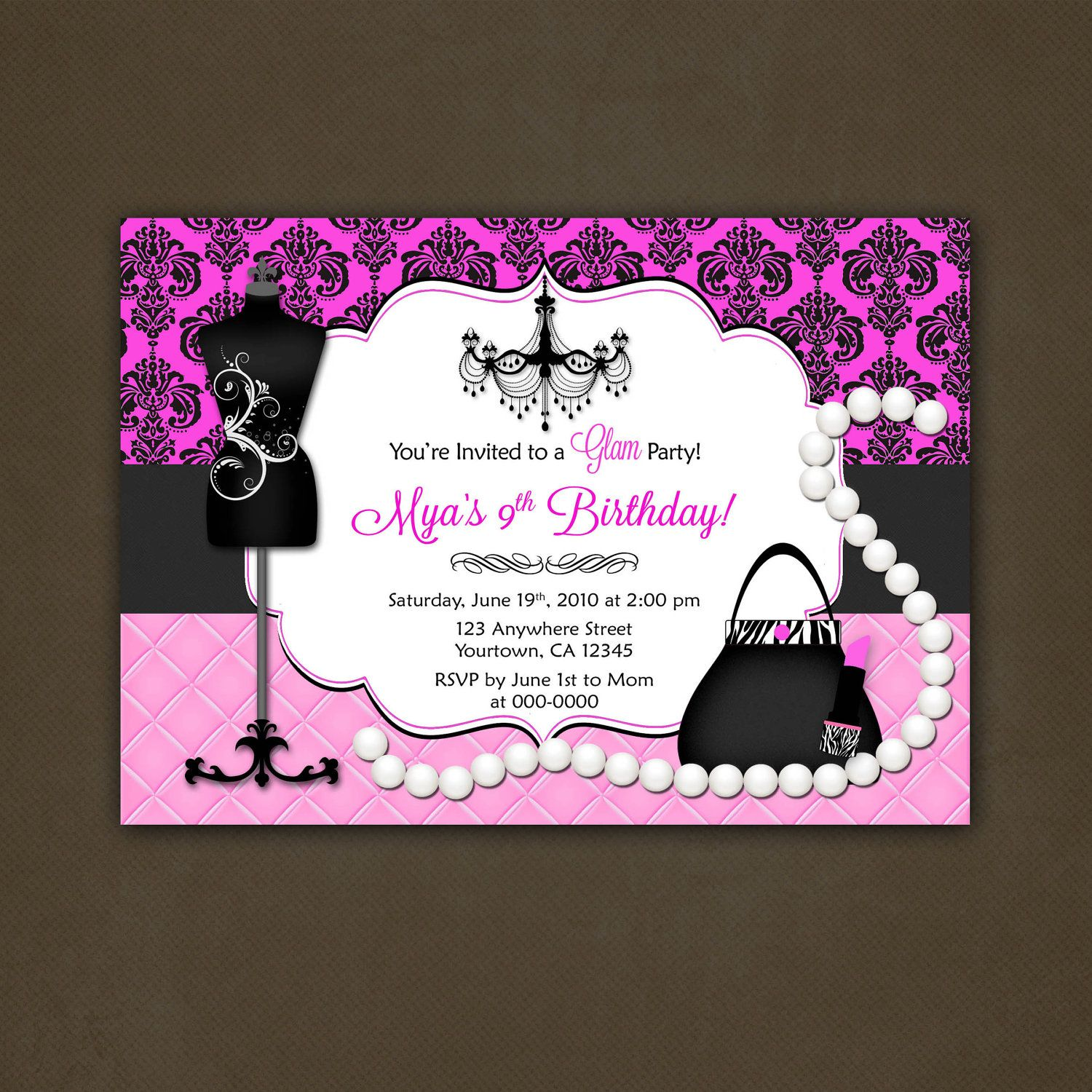 Fashionista invites | Glamour Fashionista Birthday Party Invitation ...
