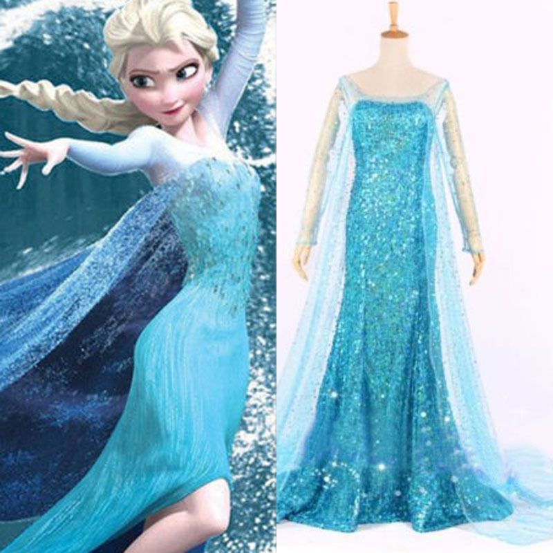 Hallow Frozen Queen Elsa Cosplay Dress Snow Cosplay Costume Adult Lady Size s L   eBay  sc 1 st  Pinterest & Hallow Frozen Queen Elsa Cosplay Dress Snow Cosplay Costume Adult ...