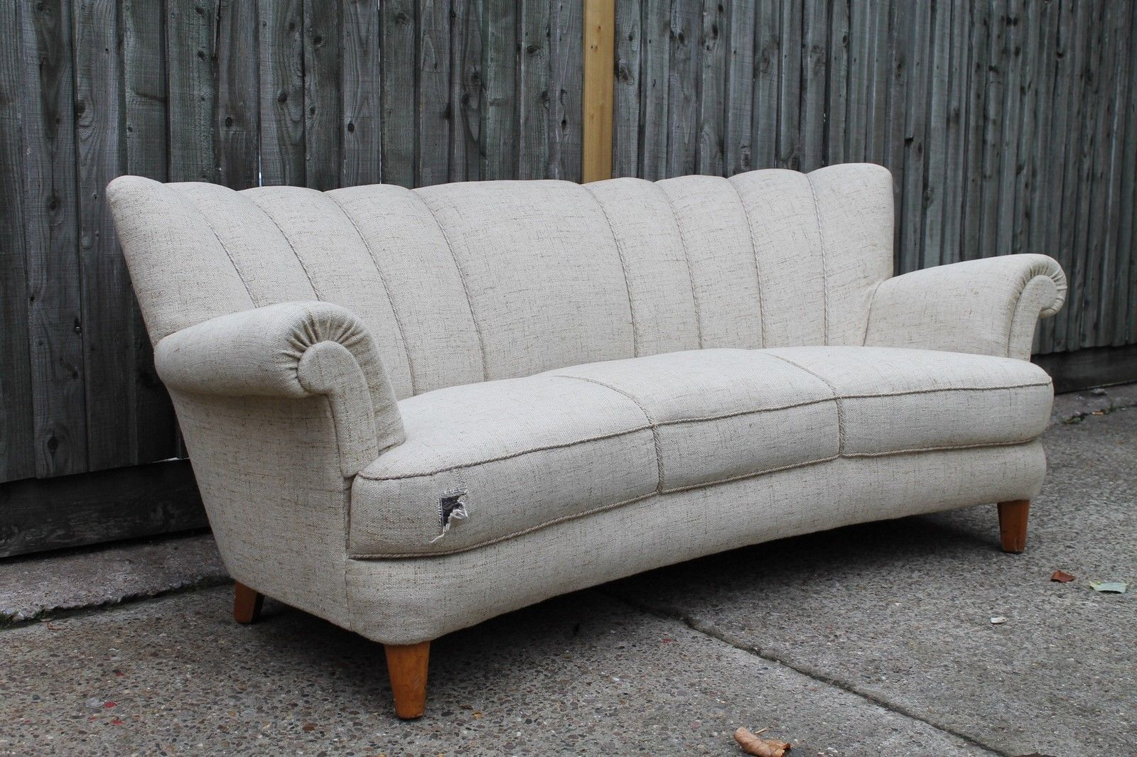 SWEDISH ART DECO SHELL BACK SOFA VINTAGE RETRO DANISH PO SUITE CHAIRS CLOUD BACK in Antiques, Antique Furniture, Sofas/ Chaises, 20th Century | eBay