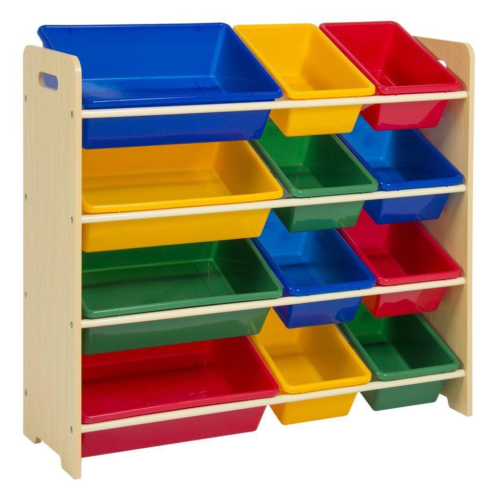 Best Choice Products Toy Bin Organizer Kids Childrens Storage Box Playroom Bedroom Shelf Drawer Multicolors