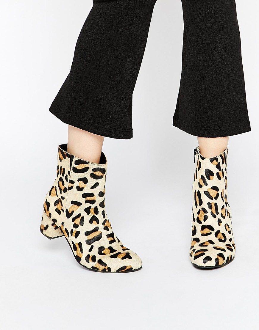 Buy Women Shoes / Warehouse Leopard Print Pony Hair Block Heel Calf Boots