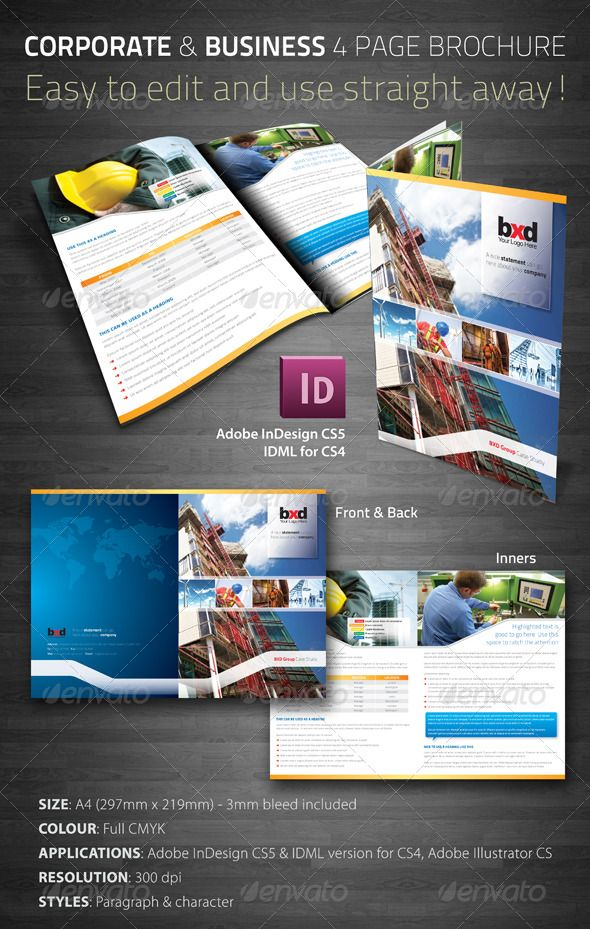 Corporate Business Page Brochure Corporate Business Brochures - Four page brochure template