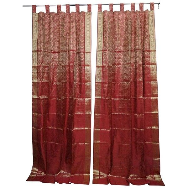 Mogulinterior Curtains Red Golden Brocade Indian Sari Set Liked On Polyvore