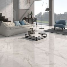 Calacatta White Gloss Floor Tiles Have A Stylish Marble Effect Finish In Either Grey Or Beige