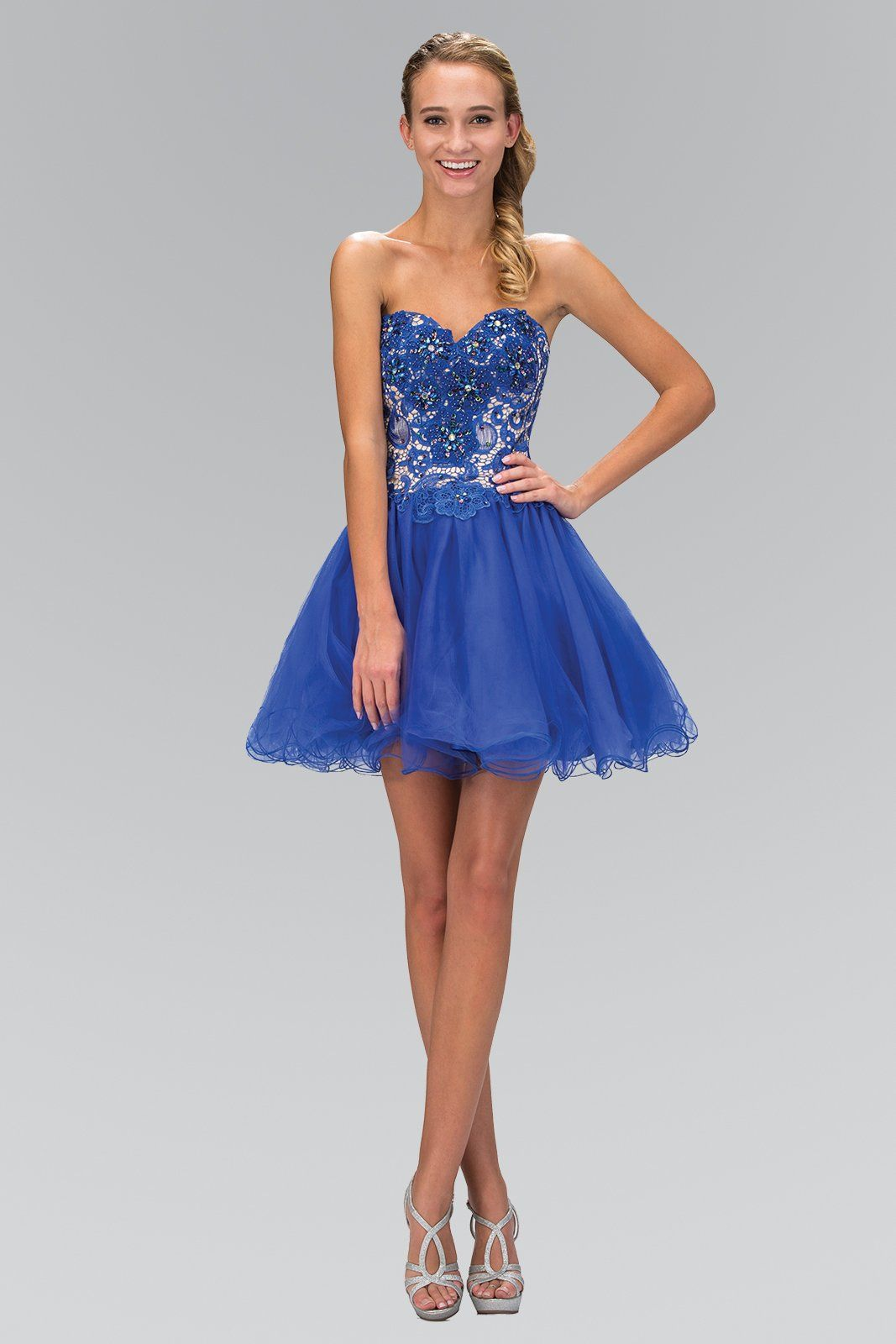 Short Strapless Dress with Lace Bodice by Elizabeth K GS1110   Lace ...