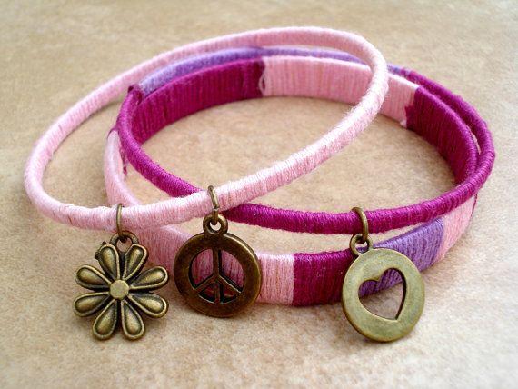 Hand Wrapped Boho Bangle Bracelet Stacks  Set by TJsTreasureChest