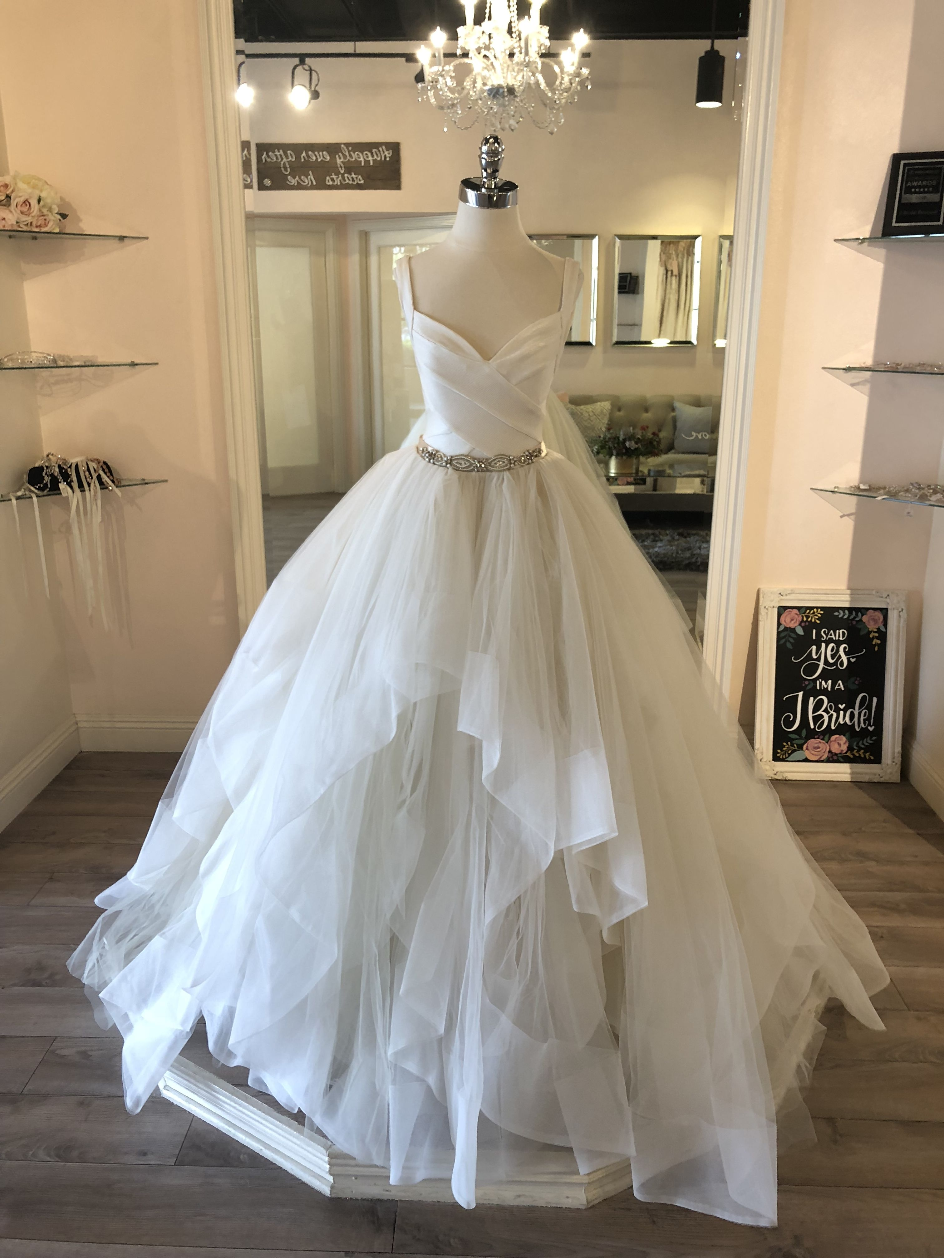 e80d90e6a20 Hayley Paige Bowie   McCartney Ballgown with removable tulle skirt and  bandage opalescent mini dress   2 piece wedding dress    weddingdress   hayleypaige