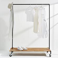 Monroe trades clothing rack distressed wood platform