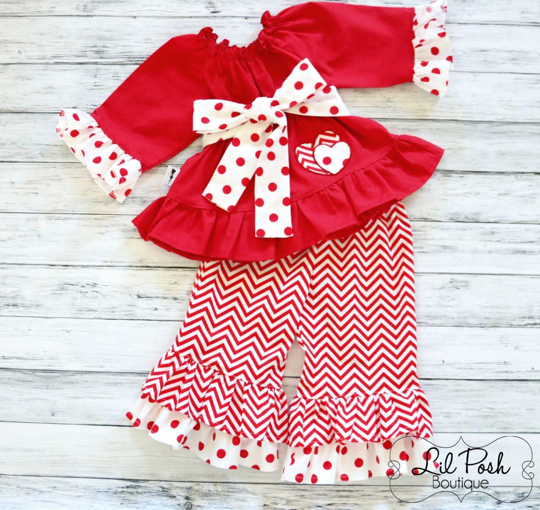 Girls valentines tunic and ruffled pants set red and white chevron