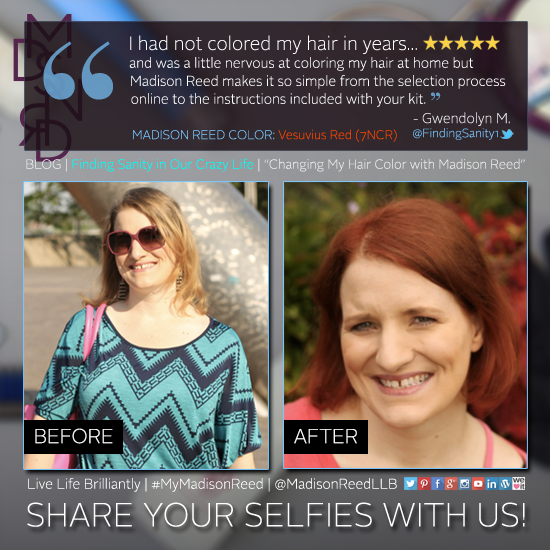 """""""During my recent weight loss journey, I lost something I did not want and that was my hair. I had to be patient and wait for it to regain its health...""""    We're shining today's #SelfieSunday spotlight on Gwendolyn M. from Finding Sanity in Our Crazy Life! Read about her #MyMadisonReed experience. #haircolor #haircare"""