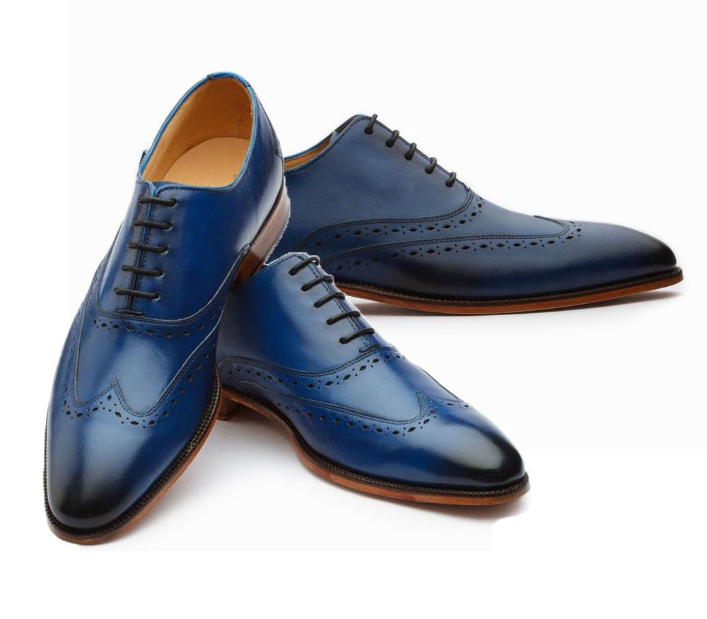 c7854e9aed73b Bespoke Oxfords Shoes, wingtip Shoes,Blue Brogue Leather Shoes ...